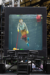 © Licensed to London News Pictures. 31/08/2016. US based group HOLONSCENES rehearse  for UK Premiere of HOLOSCENES, a mesmerising six hour underwater performance installation by US based Early Morning Opera. The piece reminds us that today, it is flooding rather than fire that is the contemporary threat in this and many contemporary cities, and one we are ignoring at our peril. London, UK. Photo credit: Ray Tang/LNP