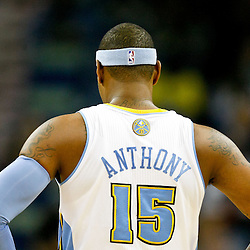October 29, 2010; New Orleans, LA, USA; Denver Nuggets small forward Carmelo Anthony (15) on the court during the first half against the New Orleans Hornets at the New Orleans Arena. The Hornets defeated the Nuggets 101-95.  Mandatory Credit: Derick E. Hingle