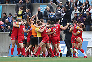 London Broncos  celebrate their 2-4 win over Toronto Wolfpack to secure their place in the Betfred Super League for 2019 during the Super 8s Qualifiers Million Pound Game at Lamport Stadium, Toronto, Canada<br />