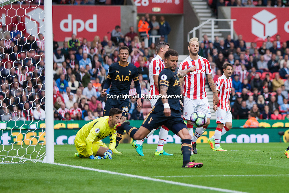 10.09.2016. Bet 365 Stadium, Stoke, England. Premier League Football. Stoke versus Tottenham Hotspur. Stoke City forward Jonathan Walters has a shot on target but stopped and cleared off the line by Walker of Tottenham.