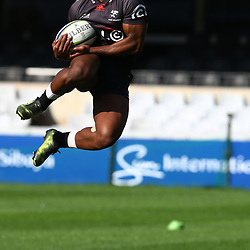 S'busiso Nkosi during The Cell C Sharks captain's run at Growthpoint Kings Park in Durban, South Africa. 14th July 2017(Photo by Steve Haag)<br /> <br /> images for social media must have consent from Steve Haag
