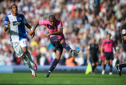BLACKBURN, ENGLAND - Saturday, August 14, 2010: Everton's Jermaine Beckford in action against Blackburn Rovers during the Premiership match at Ewood Park. (Pic by: David Rawcliffe/Propaganda)
