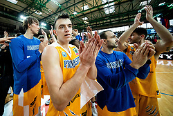 Zan Mark Sisko of Sixt Primorska and other players of Sixt Primorska celebrate after winning during basketball match between KK Sixt Primorska and KK Petrol Olimpija in semifinal of Spar Cup 2018/19, on February 16, 2019 in Arena Bonifika, Koper / Capodistria, Slovenia. Photo by Vid Ponikvar / Sportida
