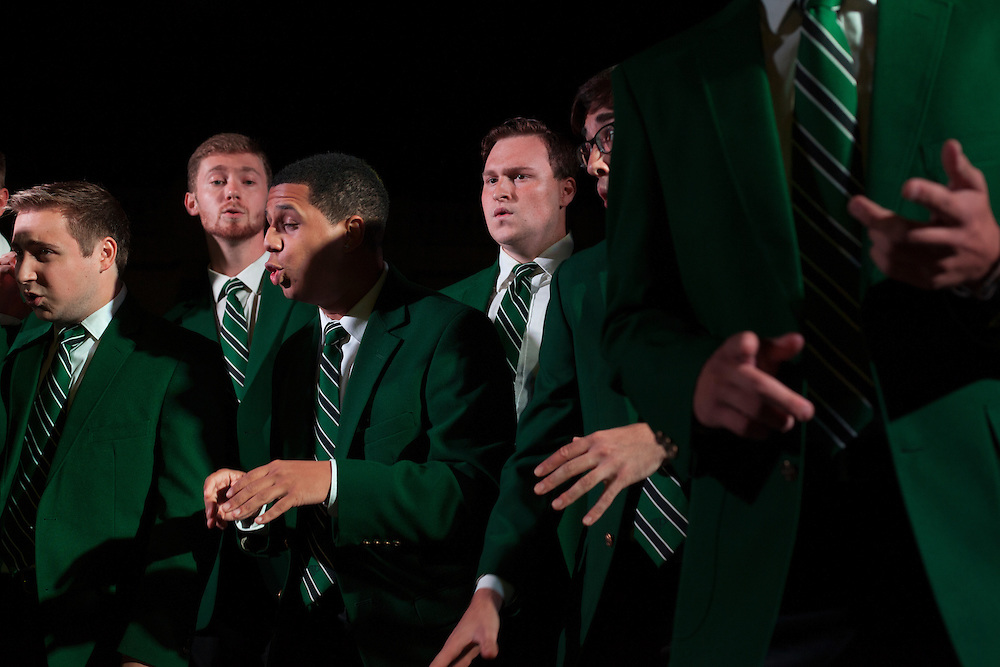 Members of Section 8, a small group formed from members of the Singing Men of Ohio, perform at the Yell Like Hell Pep Rally. © Ohio University / Photo by Kaitlin Owens