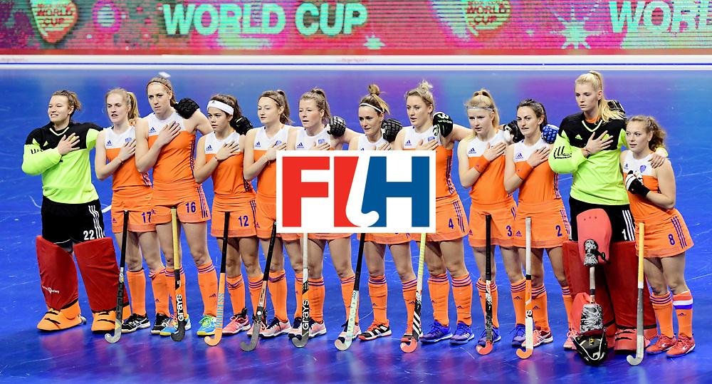 BERLIN - Indoor Hockey World Cup<br /> Women: 03 Netherlands - Switzerland <br /> foto: NL line up.<br /> WORLDSPORTPICS COPYRIGHT FRANK UIJLENBROEK