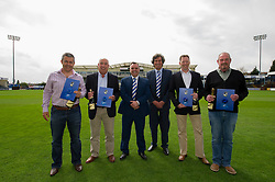 The winners of the 1883 sponsors draw<br /> <br /> From Left to Right:<br /> <br /> Pensford Press Ltd (2nd), Air Systems (SW) Ltd (5th), Stadium manager Ian Holtby, Director of Bristol Rovers Barry Bradshaw, Blue Poppy Vehicle Solutions Ltd (4th) The Sportsman Pub (1st)<br /> <br />  - Photo mandatory by-line: Dougie Allward/JMP - Mobile: 07966 386802 - 17/04/2015 - SPORT - Football - Bristol - Memorial Stadium