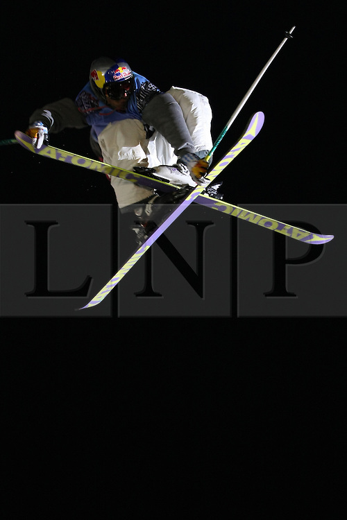 ©under licence to London News Pictures. 31 OCtober 2010, who is it, at the Relentless Freeze Festival 2010, Battersea Power Station, London. Held annually since 2008, Freeze features the world's best snowboarders and skiers  competing on a 32m high, 100m long, real snow ramp. 31 October 2010