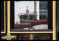 The Imperial State Crown is taken by a carriage from the State Opening of Parliament in London, Wednesday, 8th May 2013.  Photo by: Stephen Lock / i-Images