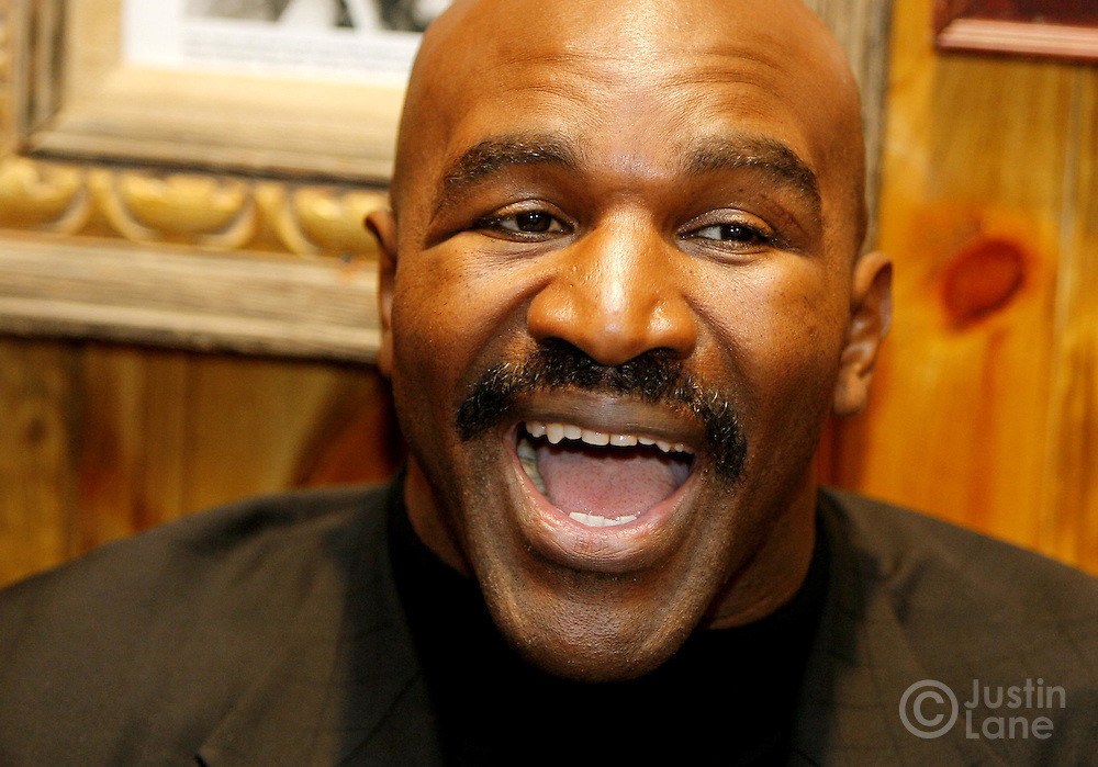Boxer Evander Holyfield talks to the press during a press conference about his upcoming 17 March 2007 fight against Vinny Maddalone in New York, New York on Tuesday 27 Feburary 2007.