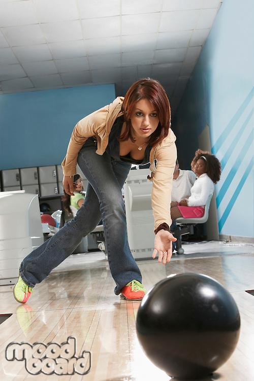 Young Woman Bowling