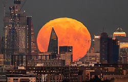 © Licensed to London News Pictures. 24/09/2018. London, UK. The near full Harvest moon passes behind The Scalpel building on Lime Street in The City of London as it rises. It is named the Harvest Moon as it is the nearest full moon to the autumnal equinox as the last of the harvest is brought in. This state of the moon, waxing gibbous, is 98. 7% of tomorrow's full moon. Photo credit: Peter Macdiarmid/LNP
