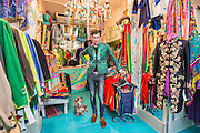 Portobello Road Feature:<br /> Portobello Road is traditionally known for it's antiques, however the influx of the affluent young and the rise of the fashion scene has started to send the local shops in a slightly different direction. Although the arrival of big brand chain stores have started to threaten the local antique shops, the ones that remain still carry an essence of cutting edge mixed with vintage artefacts - prolonging the existence of Portobello Road's unique dynamic. <br /> Pictured: Artur, store manager of Beatrice Von Treskow, poses for a picture. Beatrice Von Treskow is a womens fashion shop which was established in 1996 and has three stores - London, Cheltenham and Berlin. <br /> Rick Findler / Story Picture Agency