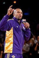 27 October 2009: Guard Derek Fisher of the Los Angeles Lakers speaks to the crowd during the Los Angeles Lakers ring ceremony before the Lakers 99-92 victory over the LosAngeles Clippers at the STAPLES Center in Los Angeles, CA.