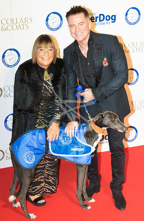 """Battersea, London, November 3rd 2016.  Celebrities and their dogs attend The Evolution at Battersea Park to attend The Battersea Dogs and Cats Home """"Collars and Coats Ball"""". PICTURED:Hilary Alexander and Charles Worthington"""