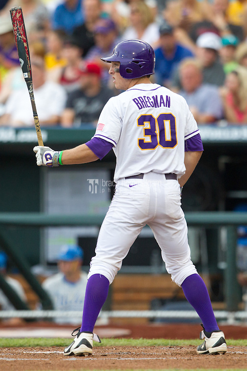 LSU Tigers shortstop Alex Bregman #30 bats during Game 4 of the 2013 Men's College World Series between the LSU Tigers and UCLA Bruins at TD Ameritrade Park on June 16, 2013 in Omaha, Nebraska. The Bruins defeated the Tigers 2-1. (Brace Hemmelgarn)