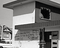 Black Power graffiti on buildings in SAN FRANCISCO California 1960's