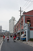 street scene and local houses in Shanghai China