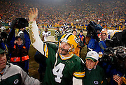 Green Bay Packers quarterback Brett Favre waves while leaving the field  after his team defeated the Minnesota Vikings 9-7 in their final home game of the year Thursday, December 21, 2006 at Lambeau Field in Green Bay, Wis.  TOM LYNN/TLYNN@JOURNALSENTINEL.COM