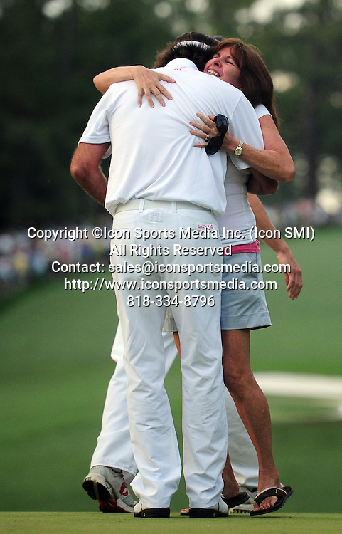 April 8, 2012 - Augusta, Georgia, U.S. - Bubba Watson, left, gets a hug from his mother Mollie Watson after winning the 2012 Masters Tournament at Augusta National Golf Club on Sunday April 8, 2012, in Augusta, Ga.