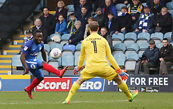 Junior Morias of Peterborough United has a chance to score denied by Sam Slocombe of Bristol Rovers - Mandatory by-line: Joe Dent/JMP - 24/03/2018 - FOOTBALL - ABAX Stadium - Peterborough, England - Peterborough United v Bristol Rovers - Sky Bet League One