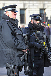 © Licensed to London News Pictures. 12/11/2017. London, UK.  A visible armed police presence manages large crowds gathered around Parliament Square and Whitehall on Remembrance Sunday where members of the Royal Family, dignatories and veterans gave tributes to war dead at The Cenotaph.  Photo credit: Stephen Chung/LNP