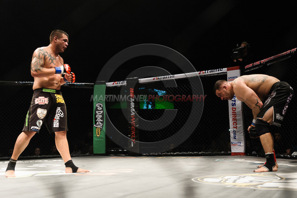 BIRMINGHAM, ENGLAND, SEPTEMBER 10, 2011: Mixed martial arts action during BAMMA 7 inside the NIA Arena in Birmingham, England on September 10, 2011.