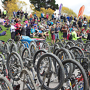 The bike park at the finish of the New World Tour de Wakatipu bike race on Saturday. Six hundred and ninety people entered the bike race which featured an  exclusive course with breathtaking views from Millbrook Resort in Arrowtown to Chard Farm along the Kawarau River, via the trails and tracks of the Wakatipu basin with distances of 36 kilometres fun riding for recreational bikers and 45 kilometres for elite and sport racers. The event was part of the inaugural Queenstown Bike Festival, which took place from 16th-25th April. The event hopes to highlight Queenstown's growing profile as one of the three leading biking centres in the world. Queenstown, Central Otago, New Zealand. 23rd April 2011. Photo Tim Clayton..