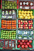 Israel, Haifa, a fruit stall in the market