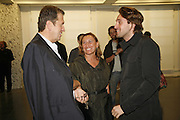 Mario Testino, Miuccia Prada and Francesco Vezzoli, EXHIBITION OF WORK BY THOMAS DEMAND ( SUPPORTED BY WALLPAPER) AT THE SERPENTINE GALLERY AND AFTERWARDS AT THE Rochelle Canteen, Rochelle School<br />Arnold Circus. London E2. 5 JUNE 2006. ONE TIME USE ONLY - DO NOT ARCHIVE  © Copyright Photograph by Dafydd Jones 66 Stockwell Park Rd. London SW9 0DA Tel 020 7733 0108 www.dafjones.com