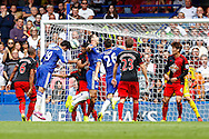 Diego Costa of Chelsea (2nd left) scores his team's first goal to make it 1-1 during the Barclays Premier League match at Stamford Bridge, London<br /> Picture by David Horn/Focus Images Ltd +44 7545 970036<br /> 13/09/2014