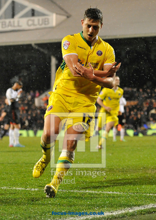 Picture by Alan Stanford/Focus Images Ltd +44 7915 056117<br /> 04/02/2014<br /> Shaun Miller of Sheffield United celebrates scoring the winning goal during the The FA Cup match at Craven Cottage, London