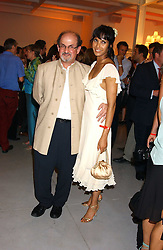 SALMAN RUSHDIE and PADMA LAKSHMI at a party to celebrate the publication of 'Shalimar The Clown' by Salman Rushdie, held at the David Gill Galleries, 3 Loughborough Street, London SE11 on 7th September 2005.<br /><br />NON EXCLUSIVE - WORLD RIGHTS