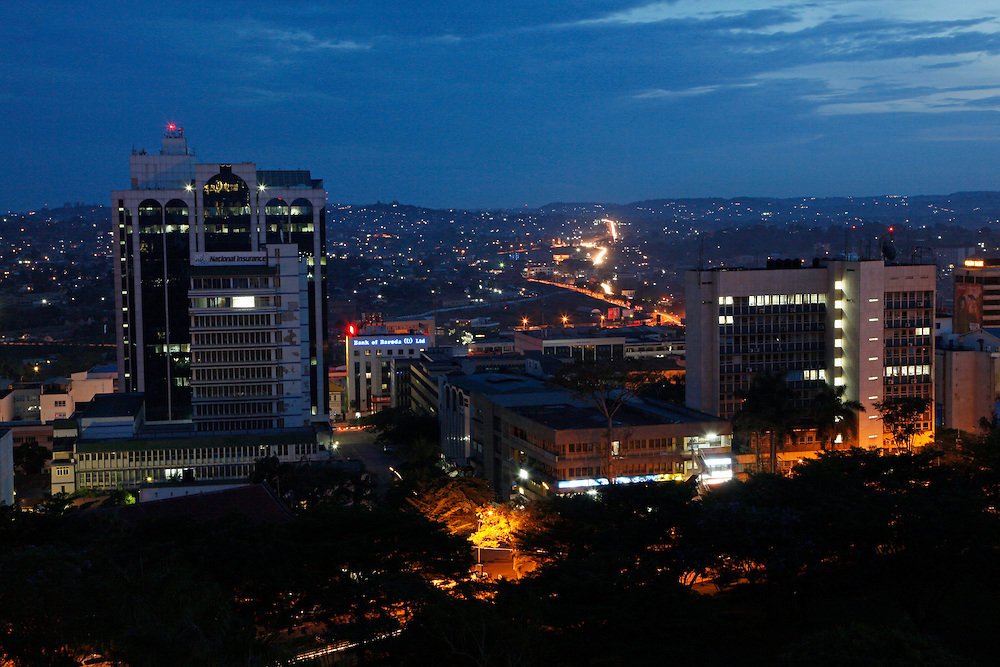 City view of central Kampala at night, the capital of Uganda. East Africa..Photo: ©Zute Lightfoot