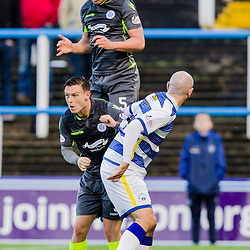 Darren Brownlie (5) of Queen of the South gets his head to the ball during the Ladbrokes Scottish Championship game between Greenock Morton and Queen of the South at Cappielow Park on 4th November 2017 in Greenock, Scotland.   (c) BERNIE CLARK   SportPix.org.uk