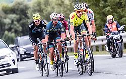 11.07.2019, Kitzbühel, AUT, Ö-Tour, Österreich Radrundfahrt, 5. Etappe, von Bruck an der Glocknerstraße nach Kitzbühel (161,9 km), im Bild Spitzengruppe, v.l.: Michal Podlaski (Wibatech Merx, POL), Andi Bajc (Team Felbermayr Simplon Wels, SLO), Tom Wirtgen (Wallonie Bruxelles, LUX) // Spitzengruppe, v.l.: Michal Podlaski (Wibatech Merx, POL), Andi Bajc (Team Felbermayr Simplon Wels, SLO), Tom Wirtgen (Wallonie Bruxelles, LUX) during 5th stage from Bruck an der Glocknerstraße to Kitzbühel (161,9 km) of the 2019 Tour of Austria. Kitzbühel, Austria on 2019/07/11. EXPA Pictures © 2019, PhotoCredit: EXPA/ JFK