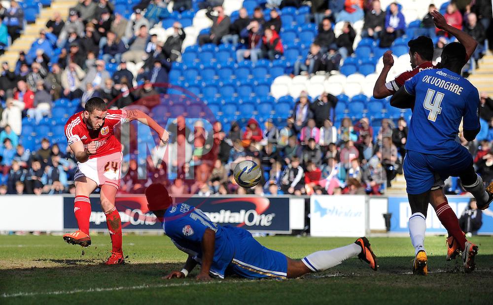 Bristol City's Martin Paterson scores a goal. - Photo mandatory by-line: Dougie Allward/JMP - Mobile: 07966 386802 22/03/2014 - SPORT - FOOTBALL - Colchester - Colchester Community Stadium - Colchester United v Bristol City - Sky Bet League One