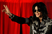 US singer Michael Jackson announces that he is set to play ten live concerts at the London O2 Arena in July, at the venue itself in south London, Thursday, March 5, 2009. (AP Photo/Joel Ryan)