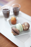 French chocolate and mint macaroons and Brazilian chocolate brigadeiros, at Insolito.