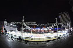 Construction of ice rink on Repulic Square for Winter Classic of HDD Telemach Olimpija called Pivovarna Union Ice Fest 2014, on December 13, 2014 on Republic Square, Ljubljana, Slovenia. (Photo By Matic Klansek Velej / Sportida.com)