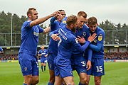 AFC Wimbledon striker Joe Pigott (39) celebrating after scoring goal during the EFL Sky Bet League 1 match between AFC Wimbledon and Accrington Stanley at the Cherry Red Records Stadium, Kingston, England on 6 April 2019.