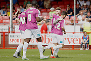 Barnet FC Defender Elliot Johnson (3) celebrates his goal with team mates during the Sky Bet League 2 match between Crawley Town and Barnet at the Checkatrade.com Stadium, Crawley, England on 7 May 2016. Photo by Andy Walter.