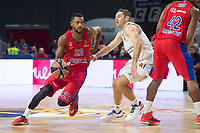 Real Madrid Fabien Causeur and CSKA Moscu Cory Higgins and Kyle Hines during Turkish Airlines Euroleague match between Real Madrid and CSKA Moscu at Wizink Center in Madrid, Spain. October 19, 2017. (ALTERPHOTOS/Borja B.Hojas)