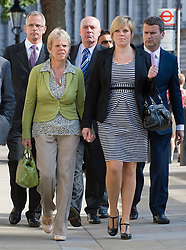 © licensed to London News Pictures.  File picture dated 11/07/2011. L to R Brian Paddick, Bob, Dowler, Sally Dowler, Gemma Dowler and Mark Lewis, Solicitor to the Dowler family, arrive at The Cabinet Office with members of the 'Hacked Off' group to meet Deputy Prime Minister Nick Clegg on 11/07/2011 to discuss the News Of The World phone hacking scandal. Milly Dowler's Killer,  Levis Belfield, has confessed further details of how he tortured, raped and killed the teenager.  Photo credit should read Ben Cawthra/LNP