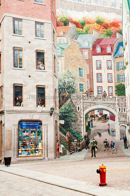 La Fresque Des Quebecois in old Quebec city quarter.