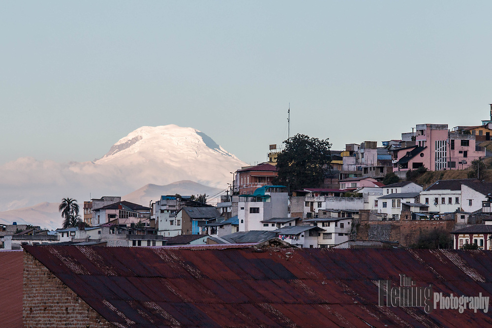 The volcano Mt. Antisana, viewed from Quito, Ecuador