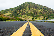 A view right down the middle of the Kalanianaole Highway  looking at Koko Crater. This view was inspired by a similar image I saw on Flickr taken by 1rajincajun.