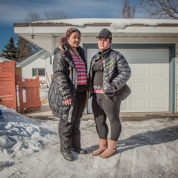 """Sisters Cindy (29) and Elizabeth (20) Lafaele in Anchorage's South Addition neighborhood.  """"We are Samoan and grew up in Hawaii.  After our parents died we came here (Anchoarge) to seek better opportunities.""""  lissah05.el@gmail.com"""
