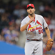 NEW YORK, NEW YORK - July 27: Pitcher Adam Wainwright #50 of the St. Louis Cardinals pitching during the St. Louis Cardinals Vs New York Mets regular season MLB game at Citi Field on July 27, 2016 in New York City. (Photo by Tim Clayton/Corbis via Getty Images)