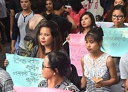 June 20, 2017 - Kolkata, West Bengal, India - Members of the Gorkha community and JU students hold placards during a protest in support of the Gorkhaland movement in Kolkata on June 20, 2017.India. (Credit Image: © Debajyoti Chakraborty/NurPhoto via ZUMA Press)