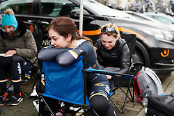 It takes a certain kind of trust to allow someone to pin on your race number to your skin suit. Sister's Grace Garner (GBR) and Lucy Garner (GBR) at Healthy Ageing Tour 2018 - Stage 1, an 8km individual time trial in Heerenveen on April 4, 2018. Photo by Sean Robinson/Velofocus.com